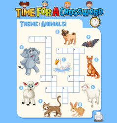 crossword puzzle game template about animals vector image