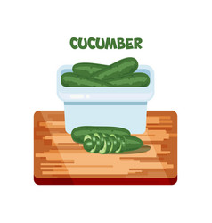 cucumber flat design cartoon style on bord vector image
