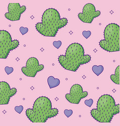 Cute cactus and hearts background vector