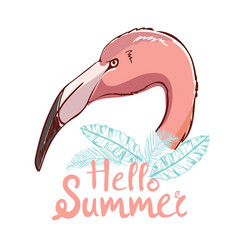 Cute flamingo with sunglasses glasses pineapple vector