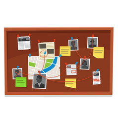 detective board crime evidence connections chart vector image
