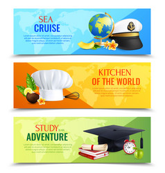 Different professions hats horizontal banners vector