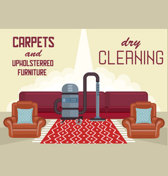Dry cleaning carpets and upholstered furniture vector