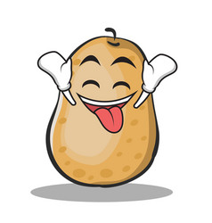 Ecstatic potato character cartoon style vector