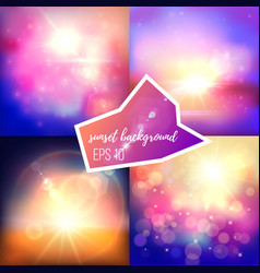 Evening sun backgrounds set vector