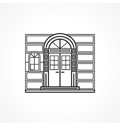 Facade arch door black line icon vector image