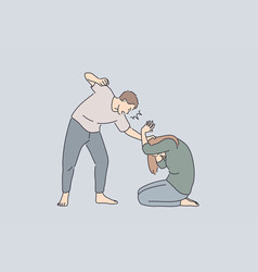 family abuse and fighting concept vector image