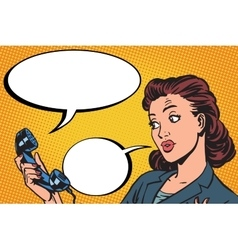 Female phone conversation communication vector image