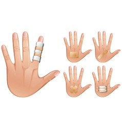 Fingers and hands wrapped with bandages vector