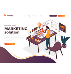 flat color modern isometric concept - marketing vector image