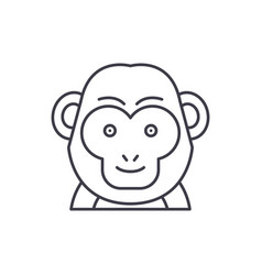 funny monkey line icon concept funny monkey vector image