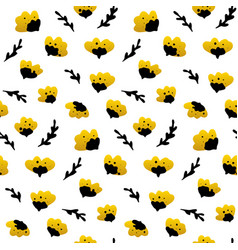 Gold black flower seamless pattern vector