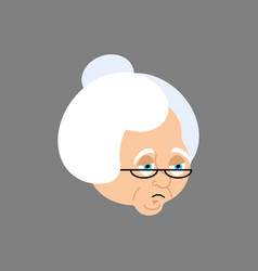 grandmother sad emoji face grandma sorrowful vector image