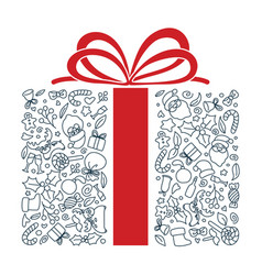 hand drawn gift shape doodle art vector image
