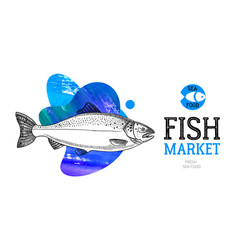 Hand drawn sketch fish animals banner black and vector