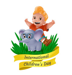 happy international childrens day greeting card vector image