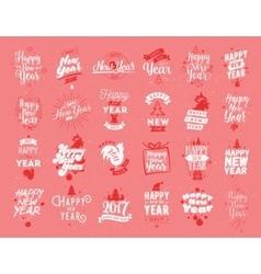 Happy New Year typographic emblems set vector image