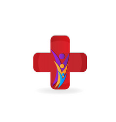 healthy family with cross symbol logo vector image