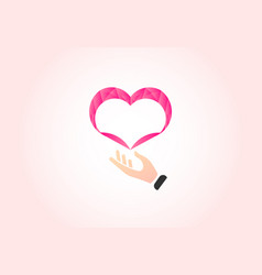 heart and caring hand charity logo vector image