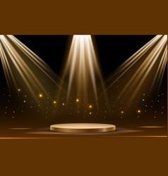 iluminated gold podium vector image