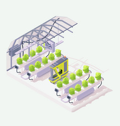 isometric agricultural robot in greenhouse vector image