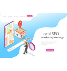 isometric flat landing page for local seo vector image