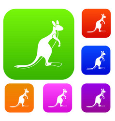 kangaroo set color collection vector image