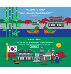 Korean Culture Travel Horizontal Banners Set vector image