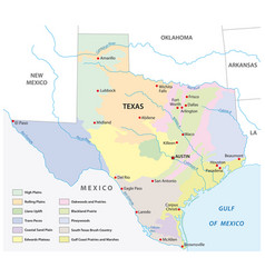 map physical regions texas vector image
