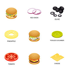 Meatball icons set isometric style vector