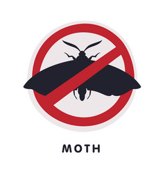 Moth harmful insect prohibition sign pest control vector