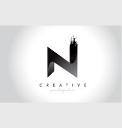 n letter design with brush stroke and modern 3d vector image