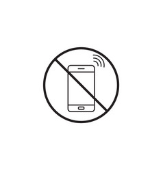 No phone line icon no talking prohibited sign vector