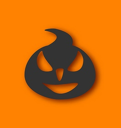 Paper pumpkin with an evil expression on his face vector image