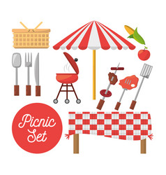 picnic set equipment objects image vector image