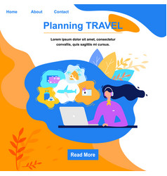 Planning travel online service flat website vector