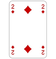 Poker playing card 2 diamond vector