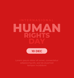 Poster human rights day with red background vector
