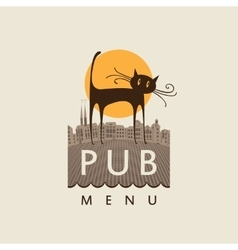 Pub with a cat on old town vector
