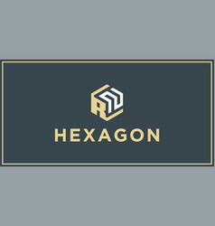 rn hexagon logo design inspiration vector image