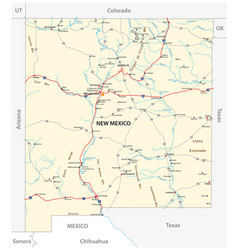 road map us american state new mexico vector image