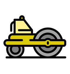 Road roller equipment icon color outline vector