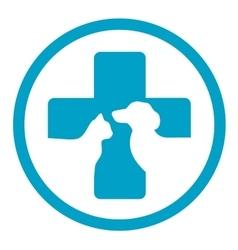 Round veterinary medicine sign vector