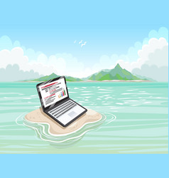 sandy island with a laptop on a sunny day vector image
