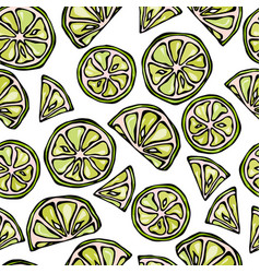Seamless lime slices background pattern of citrus vector