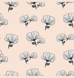 seamless pale blue and blush pastel hand drawn vector image