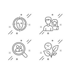 Search employees teamwork and face detect icons vector