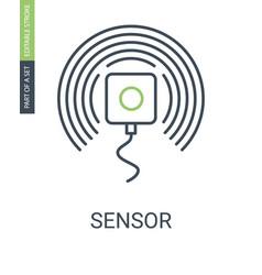 Sensor outline icon with editable stroke vector