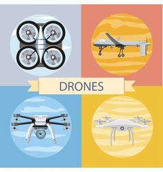 Set of different quadrocopters icons vector