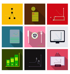set of finance and banking icons simple elements vector image